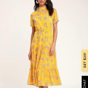 Lulus yellow floral dress